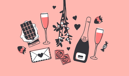 Hand drawn Fashion Illustration Romantic Objects. Creative ink art work. Actual vector drawing of Holiday things. Happy Valentine's Day set isolated on pink background Banque d'images - 126244921