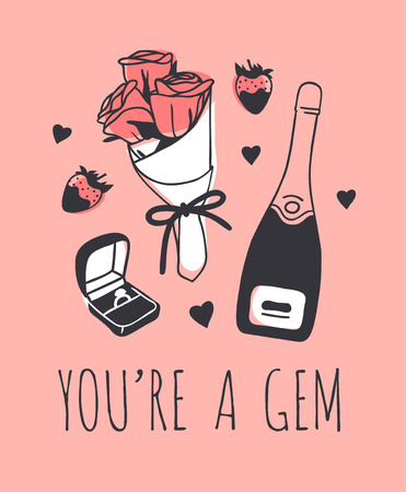 Hand drawn Fashion Illustration Romantic Objects and quote. Creative ink art work. Actual vector drawing of Holiday things. Happy Valentines Day set and text YOURE A GEM