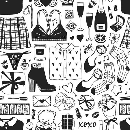 Hand drawn Fashion Seamless patterm with Romantic Objects and wear. Creative ink art work. Actual vector drawing of Holiday things. Happy Valentine's Day Illustration Illusztráció