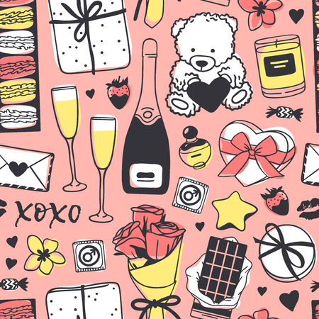Hand drawn Fashion Seamles pattern with Romantic Objects. Creative ink art work. Actual vector drawing of Holiday things. Happy Valentines Day  Illustration  イラスト・ベクター素材