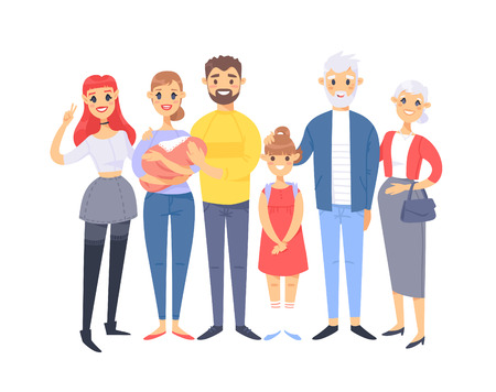 Set of different caucasian couples and families. Cartoon style people of different ages (young and elderly), with baby, boy, girl, pregnant woman
