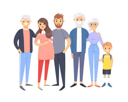 Conjunto de diferentes parejas y familias caucásicas. Gente de estilo de dibujos animados de diferentes edades (jóvenes y ancianos), con bebé, niño, niña, mujer embarazada