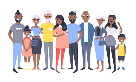 Set of different African American couples and families. Cartoon style people of different ages (young and elderly), with baby, boy, girl, pregnant woman Illustration