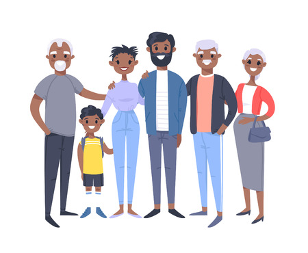 Set of different African American couples and families. Cartoon style people of different ages (young and elderly), with baby, boy, girl, pregnant woman Stock Vector - 126001620