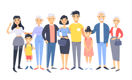 Set of different asian couples and families. Cartoon style people of different ages (young and elderly), with baby, boy, girl, pregnant woman