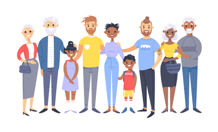 Set of different couples and families. Cartoon style people of different races, nationalities (caucasian and african american), ages (young and elderly), with baby, boy, girl, pregnant woman Stock Vector - 126001624