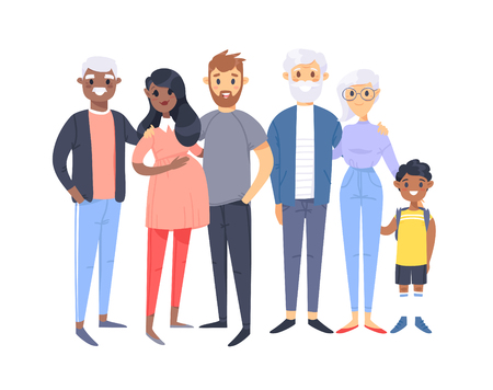 Set of different couples and families. Cartoon style people of different races, nationalities (caucasian and african american), ages (young and elderly), with baby, boy, girl, pregnant woman