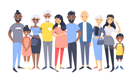 Set of different couples and families. Cartoon style people of different races, nationalities (african american and asian), ages (young and elderly), with baby, boy, girl, pregnant woman  イラスト・ベクター素材