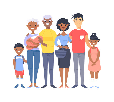 Set of different couples and families. Cartoon style people of different races, nationalities (african american and asian), ages (young and elderly), with baby, boy, girl, pregnant woman Illustration