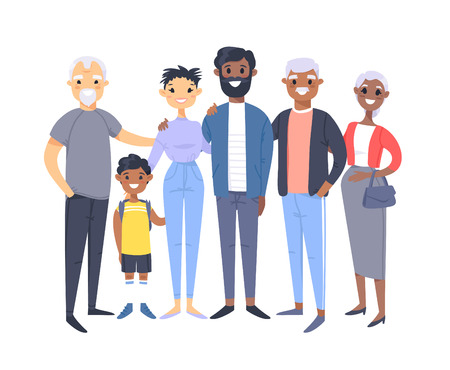 Set of different couples and families. Cartoon style people of different races, nationalities (african american and asian), ages (young and elderly), with baby, boy, girl, pregnant woman Stock Vector - 126001629