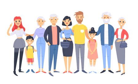 Set of different couples and families. Cartoon style people of different races, nationalities (caucasian and asian), ages (young and elderly), with baby, boy, girl, pregnant woman