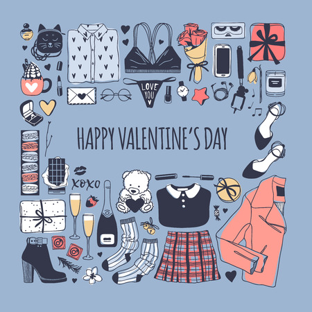 Hand drawn Fashion Illustration Romantic Objects and quote. Creative ink art work. Actual vector drawing of Holiday things. Happy Valentine's Day set and text VALENTINE'S DAY Banque d'images - 116782705