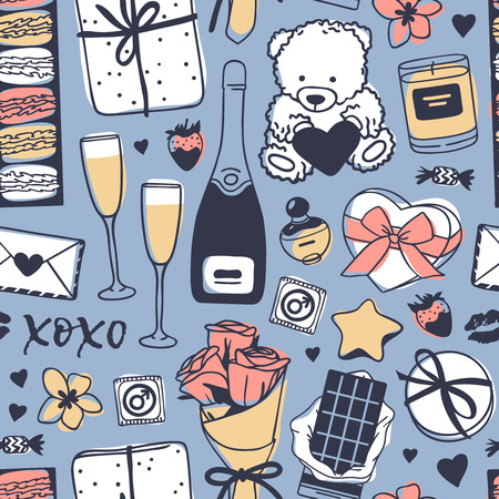 Hand drawn Fashion Seamles pattern with Romantic Objects. Creative ink art work. Actual vector drawing of Holiday things. Happy Valentines Day  Illustration Illustration