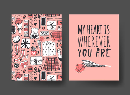 Set of Hand drawn Templates Fashion Cards with Romantic Objects and quote. Creative ink art work. Actual vector drawing of Holiday things. Happy Valentine's Day Illustration Banque d'images - 115565042