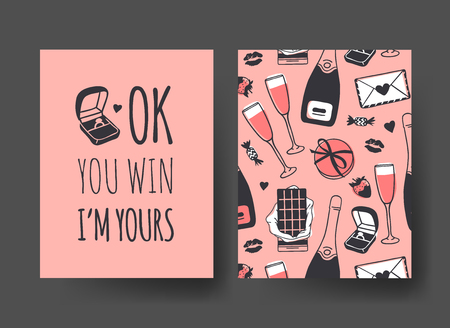 Set of Hand drawn Templates Fashion Cards with Romantic Objects and quote. Creative ink art work. Actual vector drawing of Holiday things. Happy Valentine's Day Illustration Banque d'images - 126001663