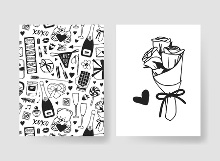 Set of Hand drawn Templates Fashion Cards with Romantic Objects and quote. Creative ink art work. Actual vector drawing of Holiday things. Happy Valentine's Day Illustration Banque d'images - 126001677