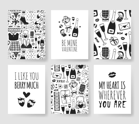 Set of Hand drawn Templates Fashion Cards with Romantic Objects and quote. Creative ink art work. Actual vector drawing of Holiday things. Happy Valentine's Day Illustration Banque d'images - 115569321