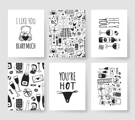 Set of Hand drawn Templates Fashion Cards with Romantic Objects and quote. Creative ink art work. Actual vector drawing of Holiday things. Happy Valentine's Day Illustration Banque d'images - 115569349