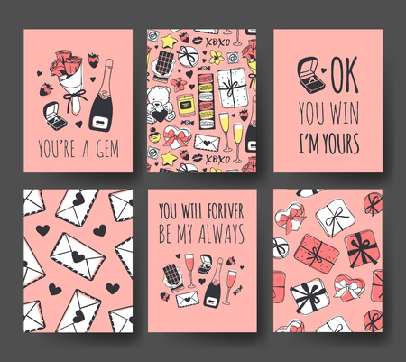 Set of Hand drawn Templates Fashion Cards with Romantic Objects and quote. Creative ink art work. Actual vector drawing of Holiday things. Happy Valentines Day Illustration