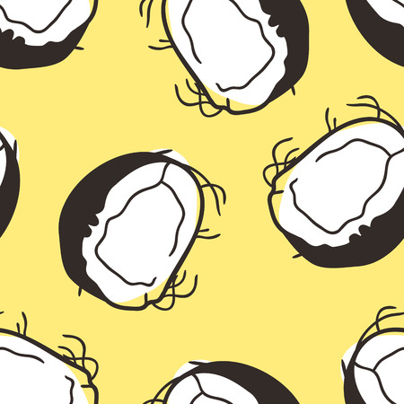Hand drawn summer seamless pattern with nut. Vector artistic illustration coconut. Artistic yellow tropical doodle Archivio Fotografico - 116782784