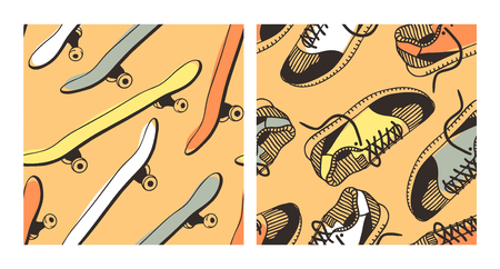 Set of hand drawn fashion illustration sneakers and skateboard. Creative ink art work. Actual vector seamless patterns with shoes and skates