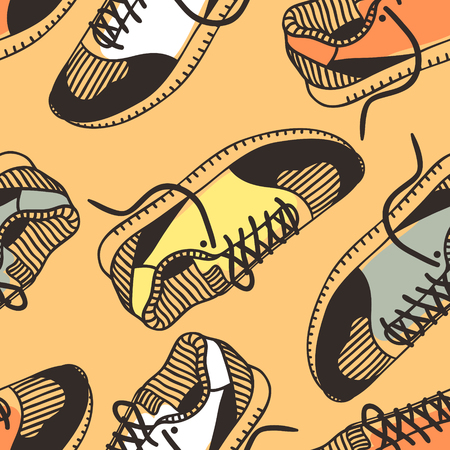 Hand drawn fashion illustration sneakers. Creative ink art work. Actual vector seamless pattern with shoes Illustration