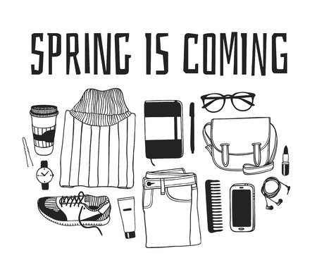 Hand drawn Spring Fashion illustration wear and quote SPRING IS COMMING. Actual Season vector background. Black and white Artistic doddle drawing jumper, jeans, snikers, bag and text. Creative ink art work 向量圖像