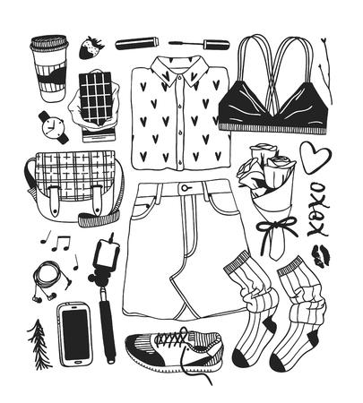 Vêtements d'illustration de mode printemps dessinés à la main. Fond de vecteur de saison réelle. Jupe de dessin artistique noir et blanc, soutien-gorge, chemise, snikers, chaussettes, sac, téléphone, écouteurs. Oeuvre d'art à l'encre créative