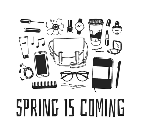 Hand drawn Spring Fashion illustration wear and quote SPRING IS COMMING. Actual Season vector background. Black and white Artistic doddle drawing bag, sketchbook, coffee, headphones, phone, glasses and text. Creative ink art work Illustration