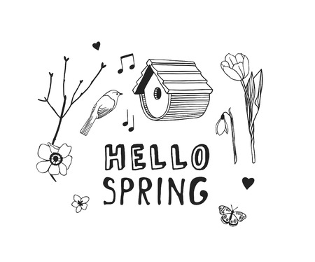 Hand drawn Spring Fashion illustration wear and quote HELLO SPRING. Actual Season vector background. Black and white Artistic doddle drawing nesting box, bird, flowers and text. Creative ink art work