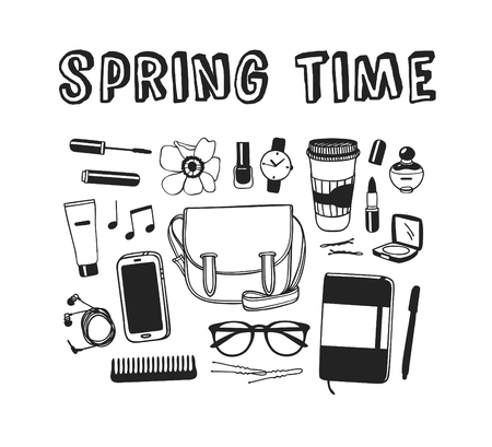 Hand drawn Spring Fashion illustration wear and quote SPRING TIME. Actual Season vector background. Black and white Artistic doddle drawing objects and text. Creative ink art work Illusztráció