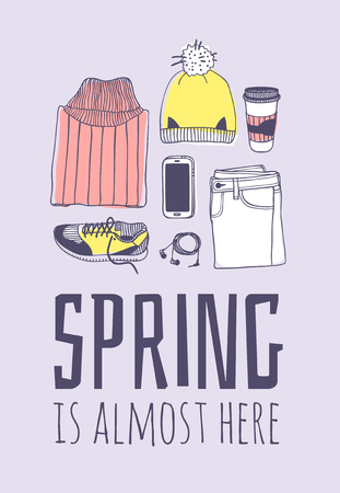 Hand drawn Spring Fashion illustration wear and quote SPRING IS ALMOST HERE. Actual Season vector on violet background. Artistic doddle drawing jeans, hat, snickers, phone, headphones, coffee and text. Creative ink art work Stock Vector - 125859166