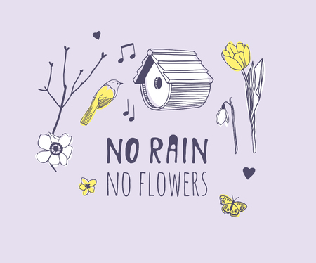 Hand drawn Spring Fashion illustration objects and quote NO RAIN, NO FLOWERS. Actual Season vector on violet background. Artistic doddle drawing nesting box, bird, flowers and text. Creative ink art work