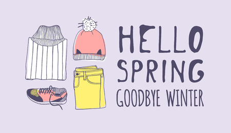 Hand drawn Spring Fashion illustration wear and quote HELLO SPRING, GOODBYE WINTER. Actual Season vector on violet background. Artistic doddle drawing  jeans, hat, snickers and text. Creative ink art work Stock fotó - 116782806
