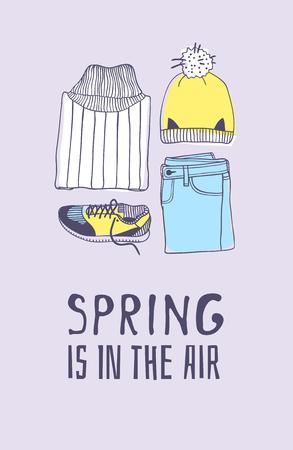 Vêtements et citations d'illustration de mode de printemps dessinés à la main LE PRINTEMPS EST DANS L'AIR. Vecteur de saison réelle sur fond violet. Jeans de dessin artistique doddle, chapeau, snickers et texte. Oeuvre d'art à l'encre créative