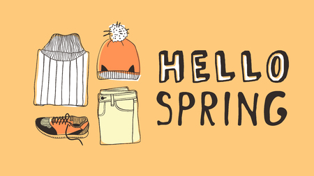 Hand drawn Fashion illustration wear and quote HELLO SPRING. Actual Season vector on yellow background. Artistic doodle drawing  jeans, hat, sneakers and text. Creative ink art work 向量圖像