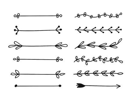 Hand drawn set of objects for design use. Black Vector doodle border on white background.  Abstract pencil boho drawing. Artistic illustration elements