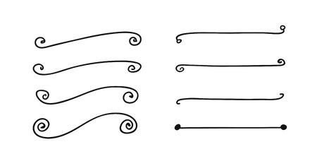 Hand drawn set of objects for design use. Black Vector doodle lines on white background. Abstract pencil drawing stripes. Artistic illustration grunge elements strokes
