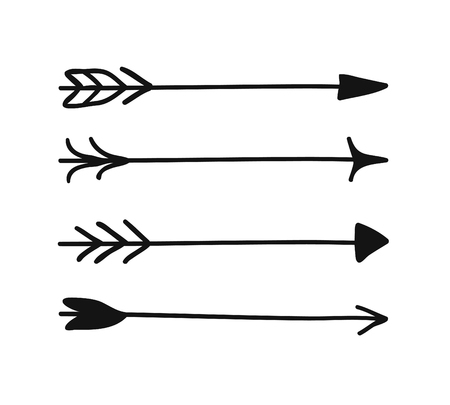 Hand drawn set of objects for design use. Black Vector doodle aztec arrows on white background. Abstract pencil tribal drawing. Artistic illustration native american elements