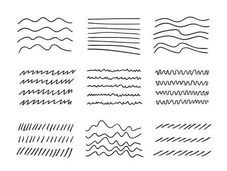 Hand drawn set of objects for design use. Black Vector doodle lines on white background.  Abstract pencil drawing stripes. Artistic illustration grunge elements strokes Stock fotó - 122471322