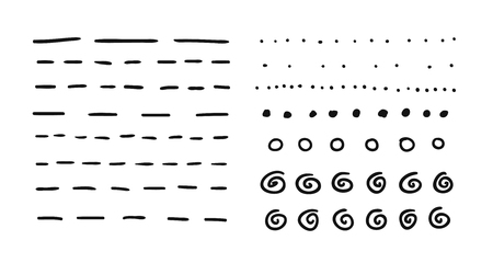 Hand drawn set of objects for design use. Black Vector doodle dotted lines on white background.  Abstract pencil drawing stripes. Artistic illustration grunge elements strokes