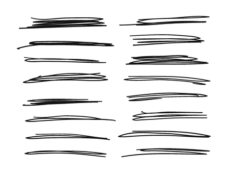 Hand drawn set of objects for design use. Black Vector doodle crossed out lines on white background. Abstract pencil drawing stripes. Artistic illustration grunge elements strokes