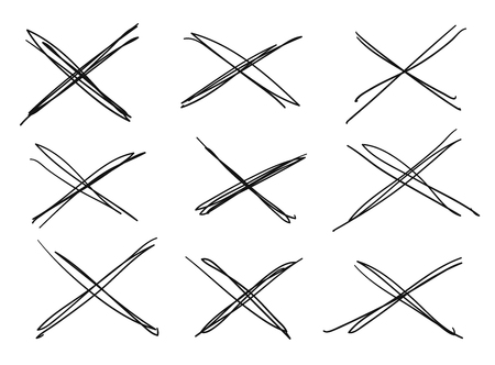 Hand drawn set of objects for design use. Black Vector doodle cross lines on white background.  Abstract pencil drawing stripes. Artistic illustration grunge elements strokes