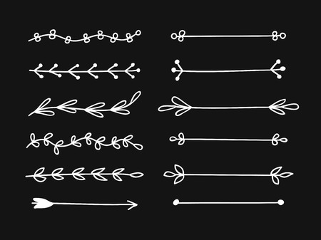Hand drawn set of objects for design use. White Vector doodle border on black background.  Abstract pencil boho drawing. Artistic illustration elements