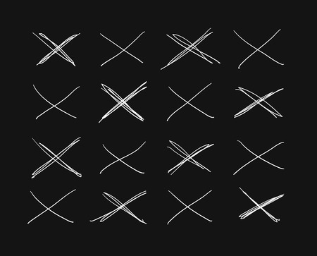 Hand drawn set of objects for design use. White Vector doodle cross lines on black background.  Abstract pencil drawing stripes. Artistic illustration grunge elements strokes