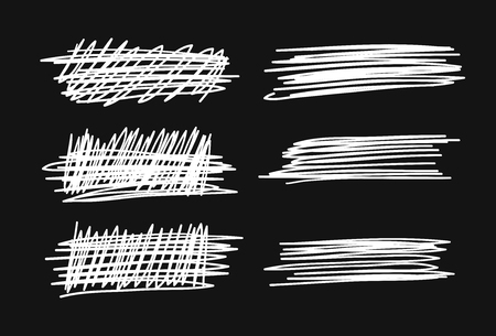 Hand drawn set of objects for design use. White Vector doodle crossed out lines on black background.  Abstract pencil drawing stripes. Artistic illustration grunge elements strokes Illustration