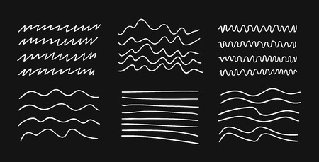 Hand drawn set of objects for design use. White Vector doodle lines on black background.  Abstract pencil drawing stripes. Artistic illustration grunge elements strokes