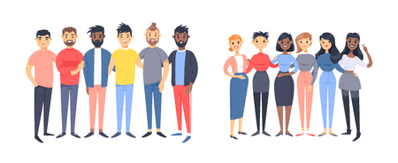 Set of a group of different men and women. Cartoon style characters of different races, gender. Vector illustration caucasian, asian and african american people