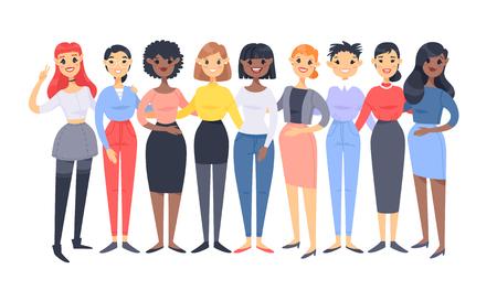 Conjunto de un grupo de mujeres diferentes. Personajes de estilo de dibujos animados de diferentes razas. Ilustración de vector de personas caucásicas, asiáticas y afroamericanas