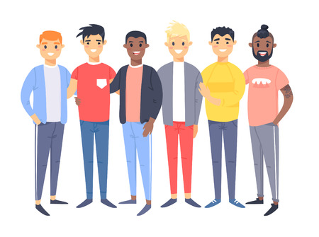 Set of a group of different men. Cartoon style characters of different races. Vector illustration caucasian, asian and african american people